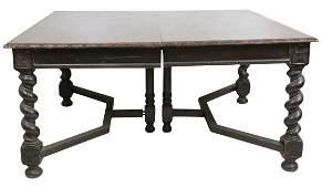 ENGLISH TUDOR STYLE CARVED BARLEY TWIST DINING TABLE