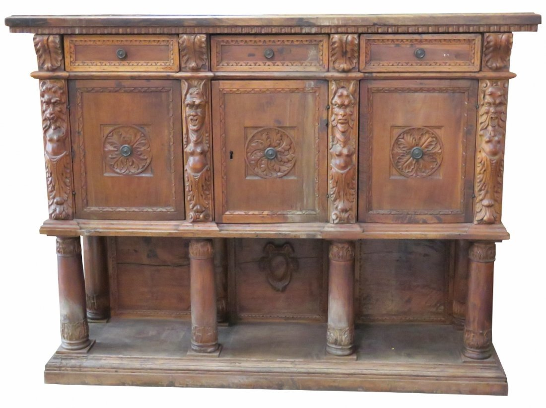 ANTIQUE ITALIAN RENAISSANCE WALNUT CARVED CABINET