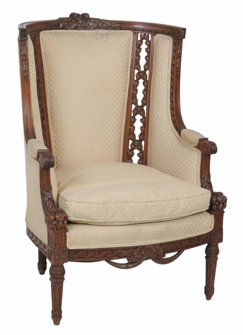 LOUIS XVI STYLE CARVED UPHOLSTERED BERGERE