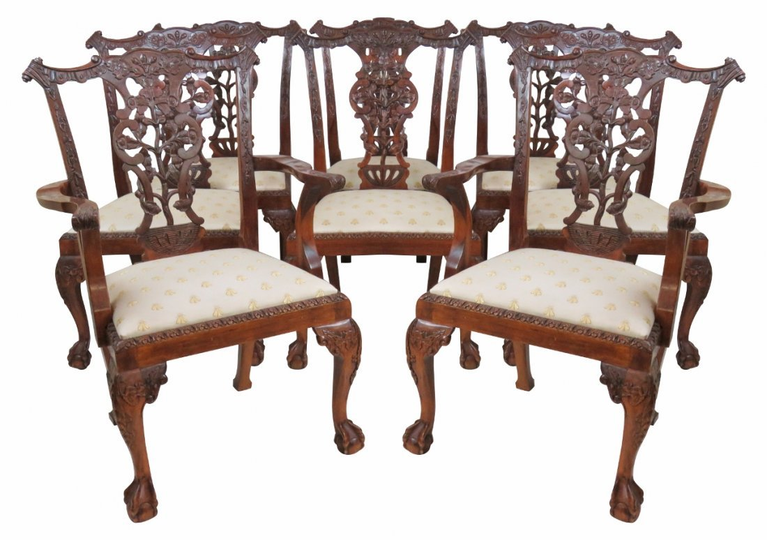 8 CHIPPENDALE STYLE CARVED BALL & CLAW DINING CHAIRS