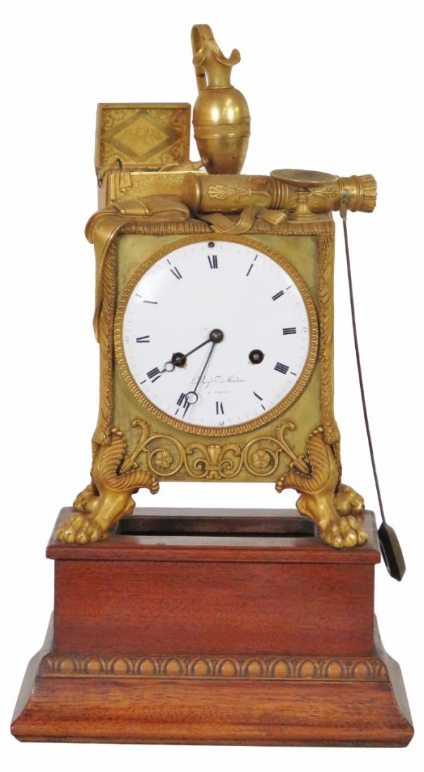 FRENCH EMPIRE BRONZE CLOCK on MAHOGANY BASE