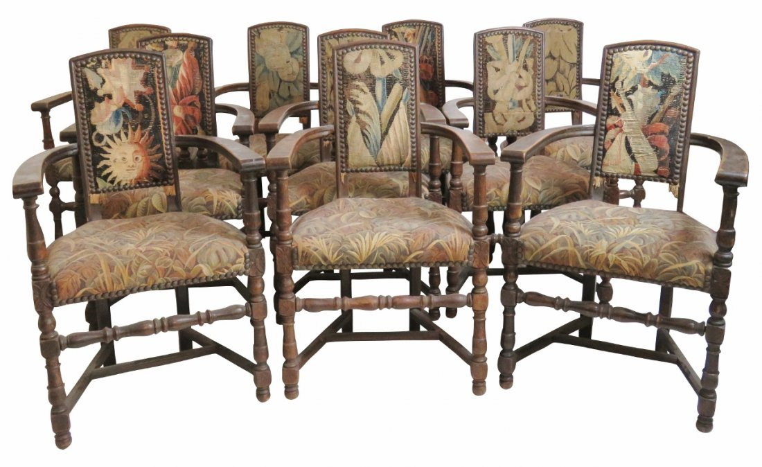 10 TUDOR STYLE UPHOLSTERED DINING CHAIRS