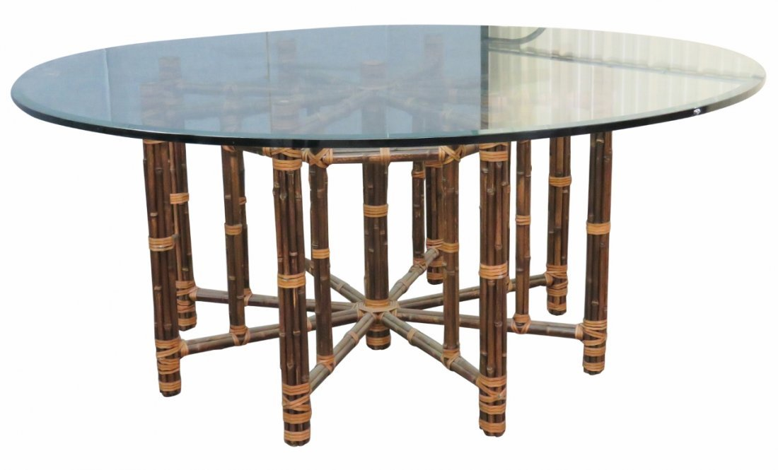 LARGE BAMBOO GLASS TOP DINING TABLE
