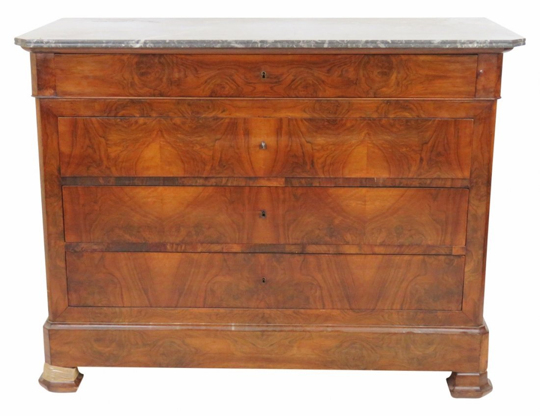 FRENCH WALNUT MARBLETOP COMMODE
