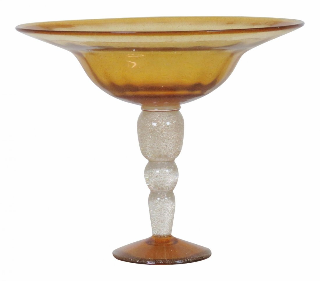 LARGE MURANO GLASS TWO-TONED COMPOTE