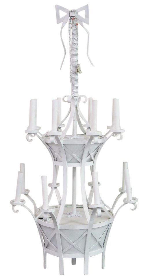 8 1/2 ft. DECORATOR WHITE PAINTED IRON CHANDELIER