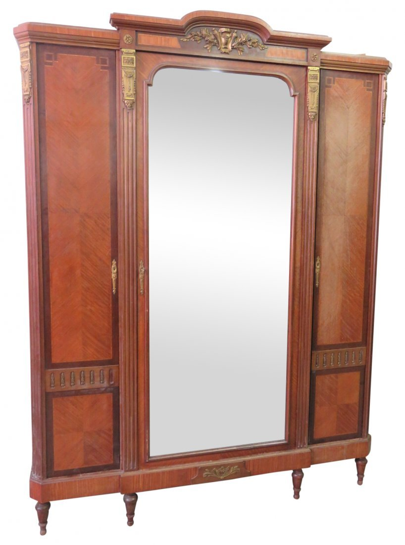 LOUIS XVI STYLE BRONZE MOUNTED PARQUETRY INLAID ARMOIRE