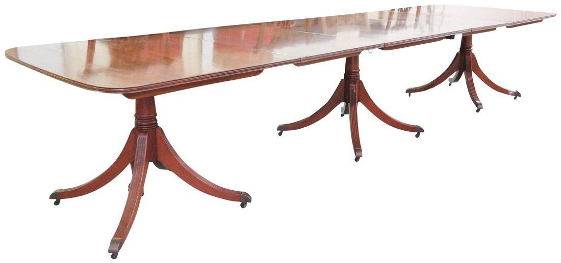 GEORGIAN STYLE TRIPLE PEDESTAL DINING ROOM TABLE