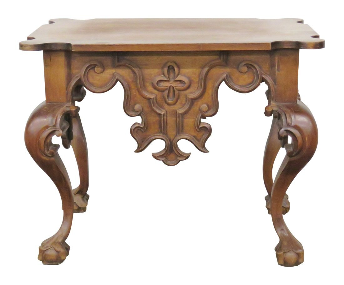 ORNATE CARVED WALNUT SIDE TABLE