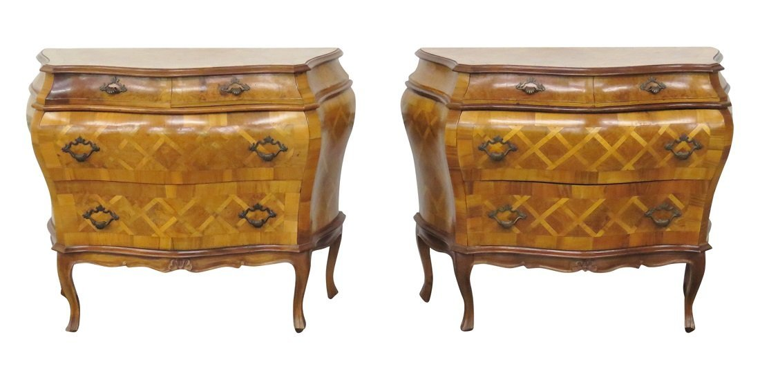 Pair PARQUETRY INLAY OLIVEWOOD COMMODES