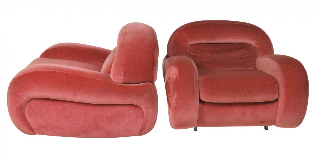 Pair DECO PINK UPHOLSTERED LOUNGE CHAIRS
