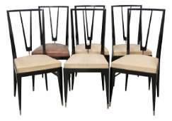 6 GIO PONTI STYLE EBONIZED DINING CHAIRS