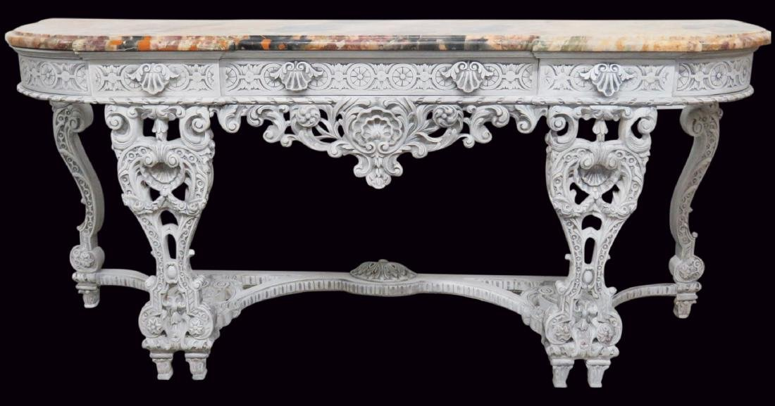 SWEDISH STYLE CARVED MARBLETOP CONSOLE
