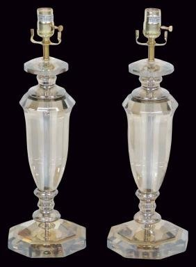Pair JOHN RICHARD GLASS TABLE LAMPS