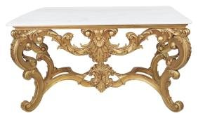 FRENCH STYLE GILT CARVED MARBLETOP CONSOLE TABLE