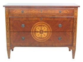 LOUIS XV STYLE INLAID 3 DRAWER COMMODE