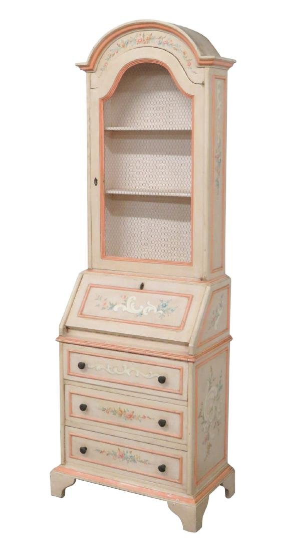 FRENCH STYLE PAINT DECORATED SECRETARY DESK