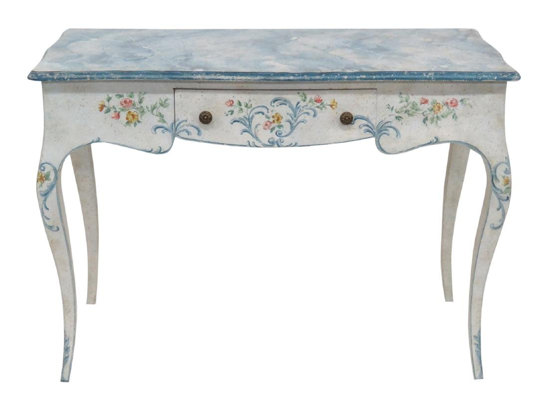 PAINT DECORATED FAUX MARBLETOP WRITING DESK VANITY