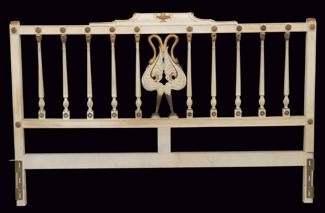 CREAM & GILT PAINTED CARVED HEADBOARD