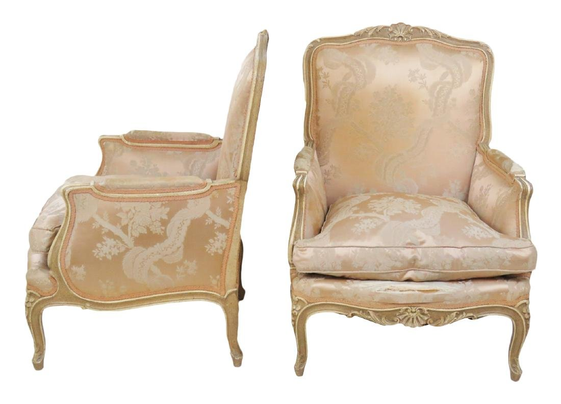 LOUIS XVI STYLE DISTRESSED PAINTED BERGERES