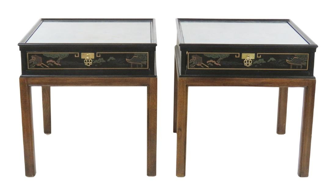 Pair DREXEL CHINOISERIE STYLE END TABLES