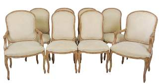 8 LOUIS XVI STYLE UPHOLSTERED DINING CHAIRS