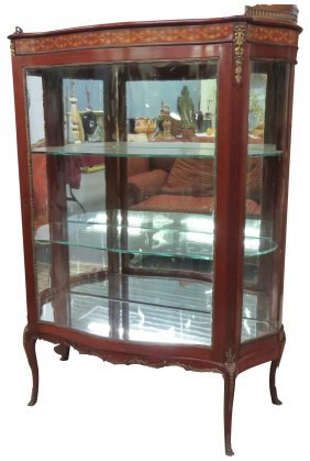 LOUIS XVI STYLE BRONZE MOUNTED INLAID VITRINE