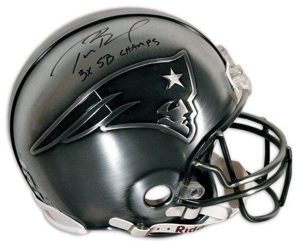1: Tom Brady Autographed Pewter Helmet w/ 3x SB CHAMPS