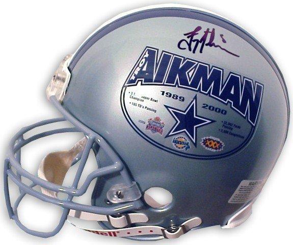 4: Troy Aikman Autographed Career Stats Helmet