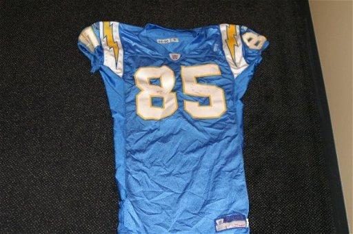 6c5a7e0f 6: Antonio Gates game used Throwback powder blue jersey - Feb 04 ...