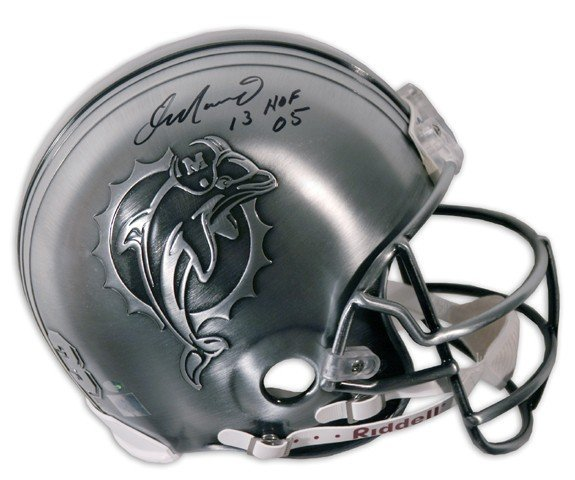 """18: Dan Marino Autographed Pewter Helmet w/ """"HOF 05"""" In"""