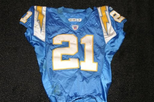 new arrival 5c8cc 12b32 31: Ladainian Tomlinson game used throwback jersey