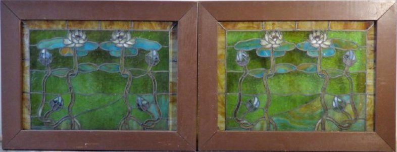 A Pair of Antique Art Nouveau Leaded Glass Panels