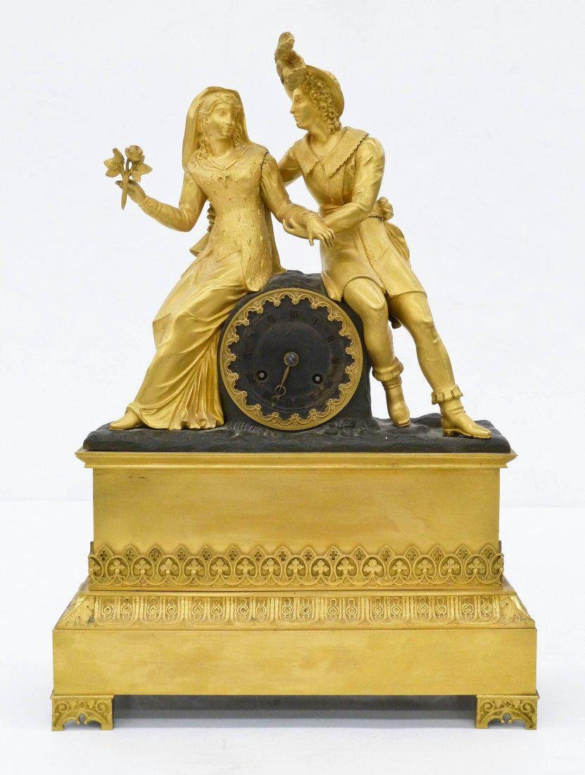 A French Empire Bronze Dore Mantel Clock