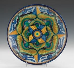 Antique Cantagalli Polychromed Maiolica Charger