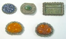 Five Chinese Export Silver-Mounted Jewelry Items