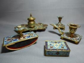 Group of French Gilt Bronze & Champleve Articles