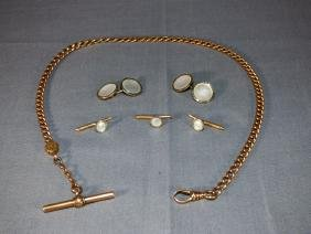 Group of Gentleman's Gold Jewelry Articles