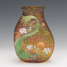 An Enameled and Parcel Gilt Bohemian Glass Vase