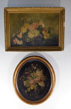 Two Antique Oil on Canvas Paintings of Flowers