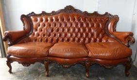 Italian Louis XVI Style Leather & Carved Wood Sofa