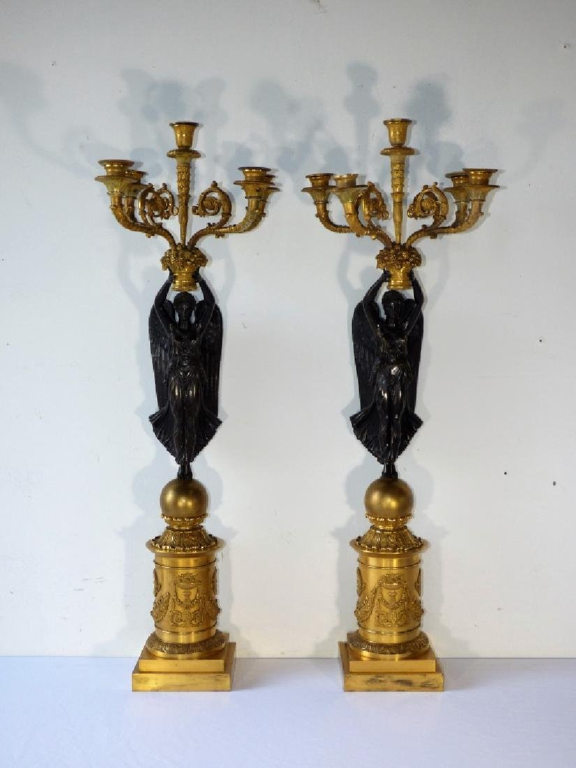 Pair of Regency Gilt & Patinated Bronze Candelabra