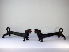 Pair of Cast Iron Figural Dachshund Andirons
