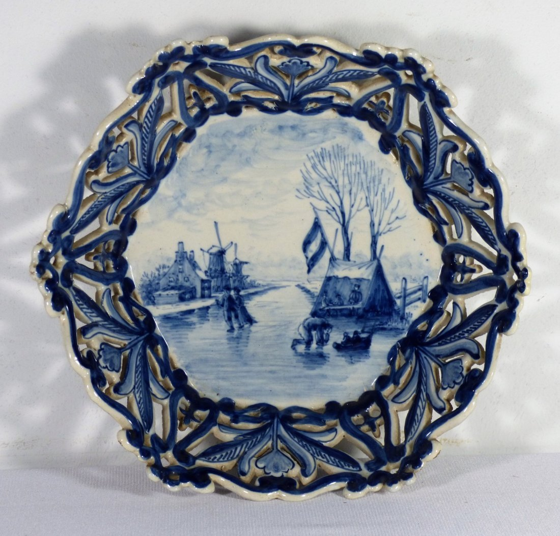An Antique Makkum Reticulated Delft Bowl or Basket