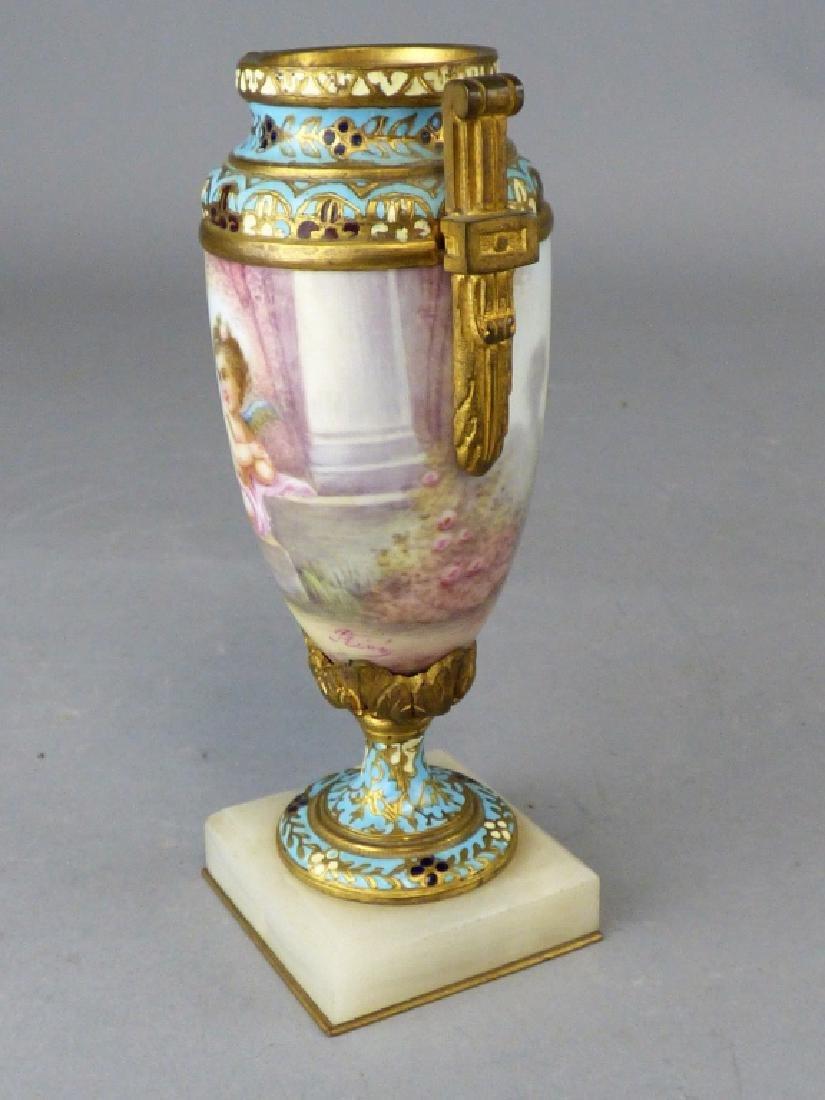 French Porcelain, Gilt-Bronze & Champleve Vase - 4