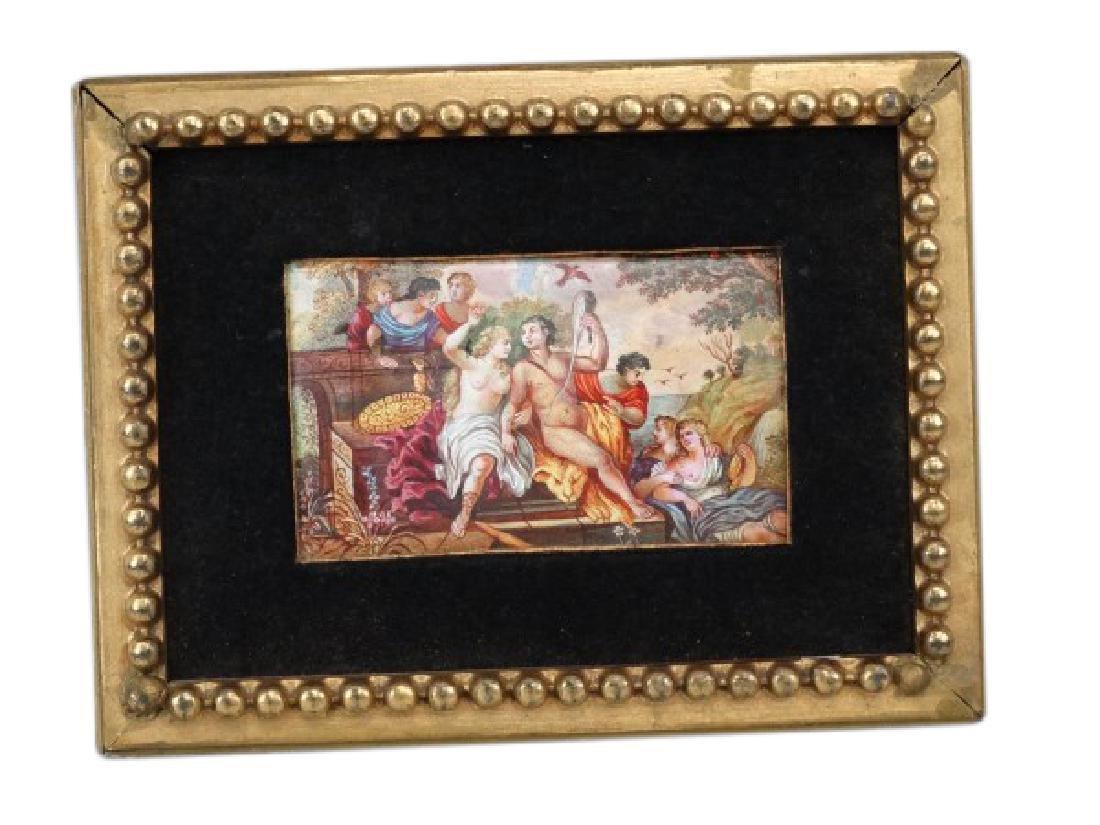 Antique Continental Miniature Enamel Plaque