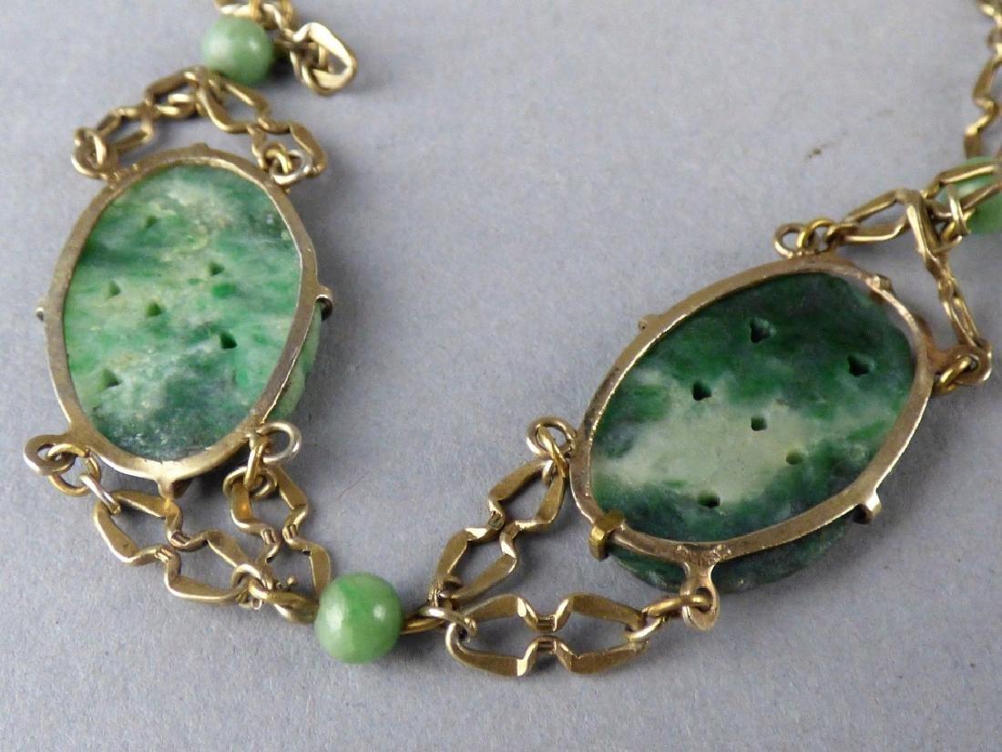 Carved Jadeite and Sterling Silver Bracelet - 2