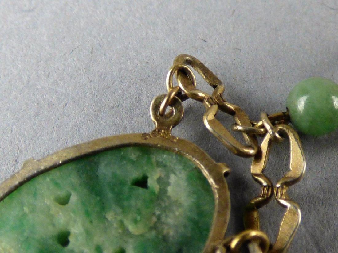 Carved Jadeite and Sterling Silver Bracelet - 3