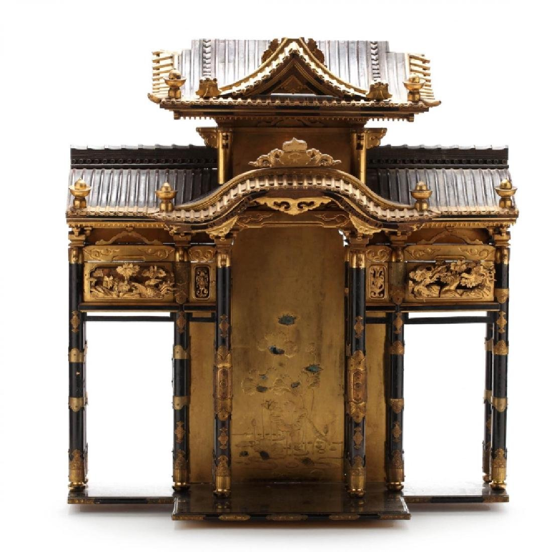 Antique Japanese Butsudan Lacquer and Gilt Shrine
