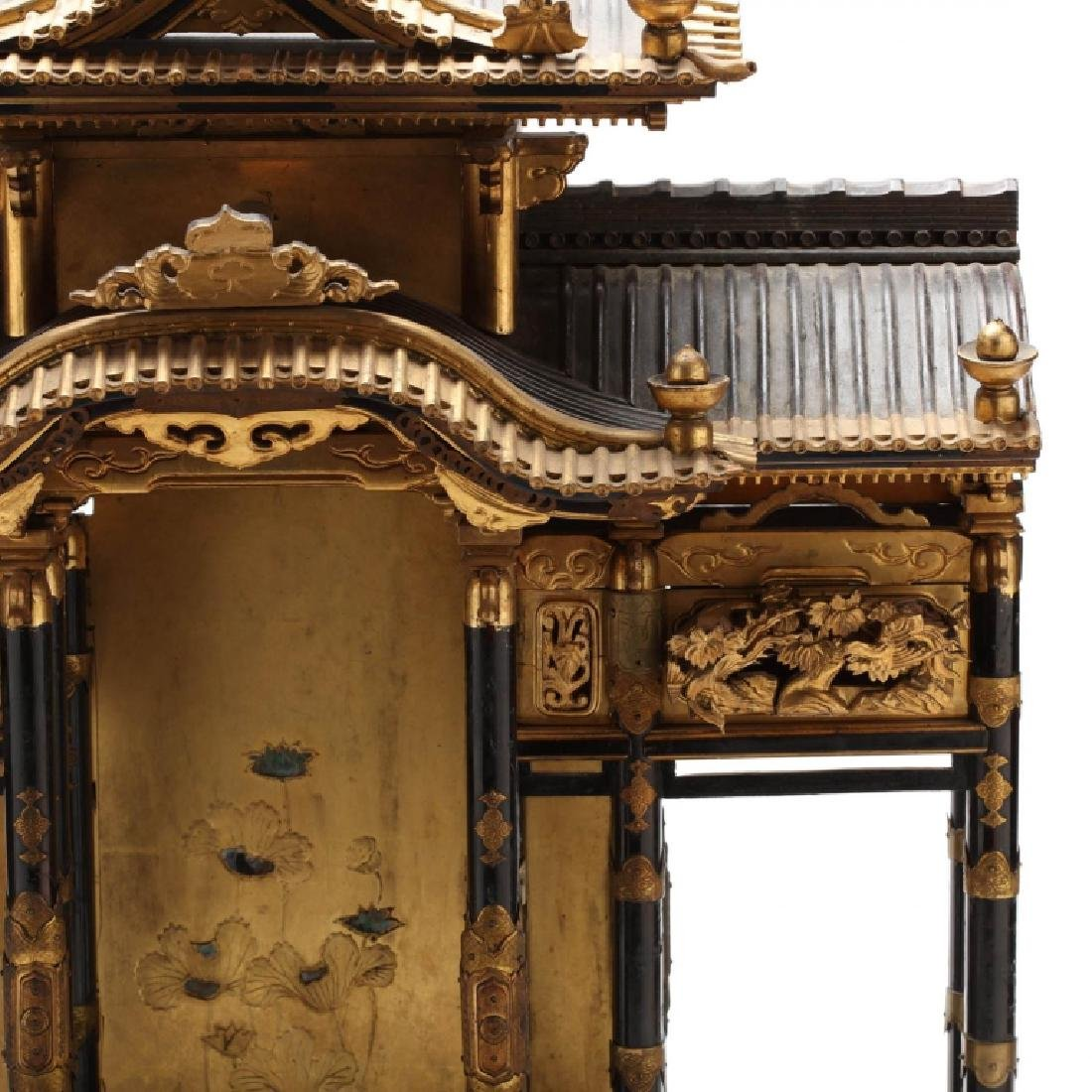 Antique Japanese Butsudan Lacquer and Gilt Shrine - 3